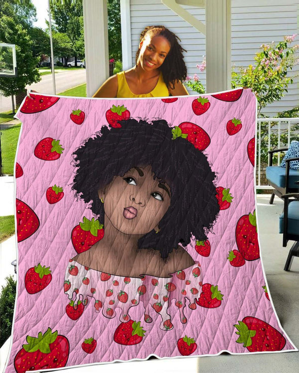 Afro Kid Art Quilt - Cute Lovely Afro Kid Strawberry Pink Style Quilt