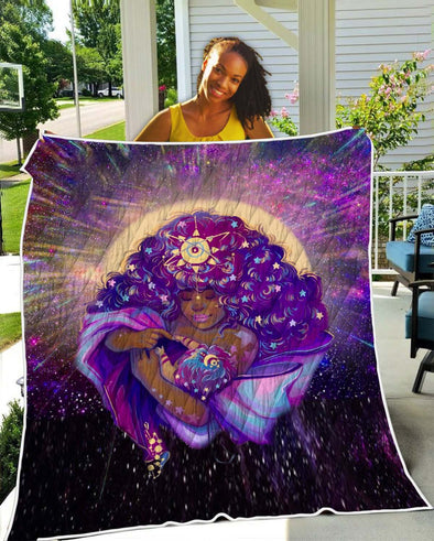 African American Women Art Quilt - Beauty Mother And Baby Galaxy Quilt
