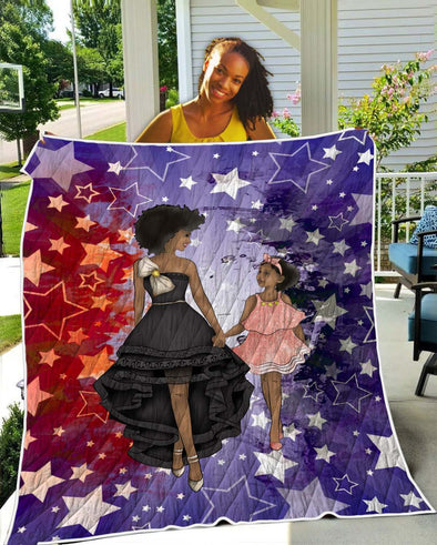 Black Woman Artwork Quilt - Luxury Beauty Mom And Daughter Party