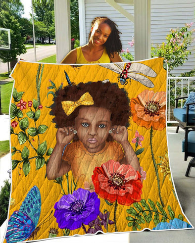African American Daughter Quilt - Nice Curly Fro Natural Flower Style Quilt