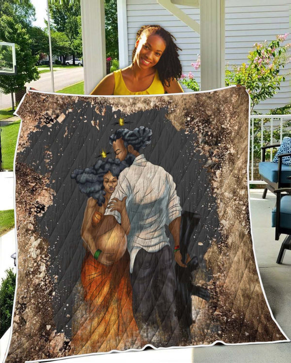 Quilt For Black Couple - Love My Black Pregnant Women On War Quilt