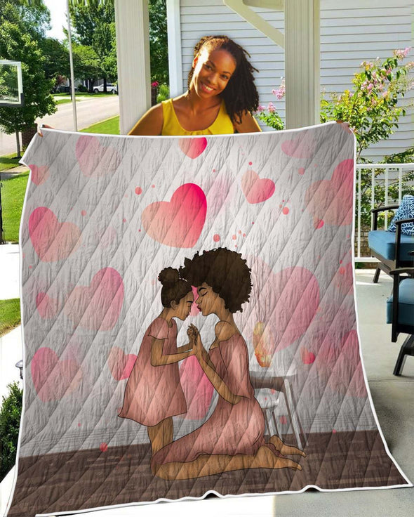 Black Family Art Quilt Mom And Daughter Black Beauty Happiness Time