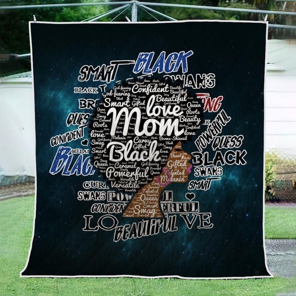 Afro Mom Words Art Quilt - Love Black Afro Mom Natural Quilt