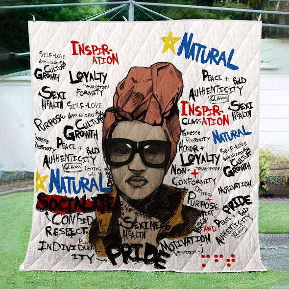 Afro Natural Hair Quilt - Headwrap Word Art Natural Pride Quilt