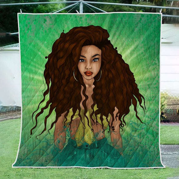 Afro Black Princess Art Quilt - Beauty Princess Forest Style Quilt