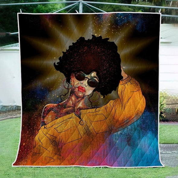 Black Curly Hair Artwork Quilt - Colorful Curls Girl Beauty Quilt