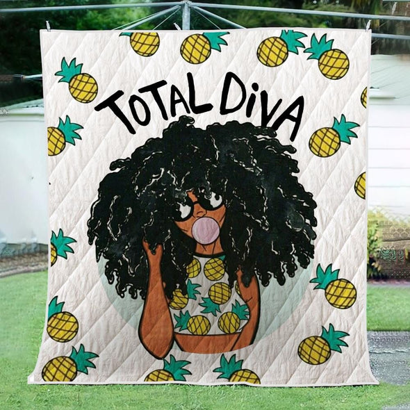 Magic Black Girl Quilt - Total Diva Afro Natural Pineapple Quilt