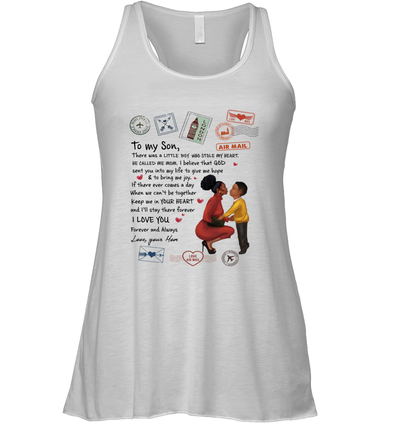 Stamps Keep Me In Your Hear - Elegant Mother To Son Racerback Tank