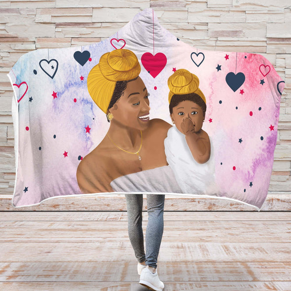 Beauty Black Headwrap Hooded Blanket - Cute Mom And Baby Love Hooded Blanket