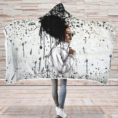Afro African Headwrap Art Hooded Blanket - Headwrap Melting Style Hooded Blanket