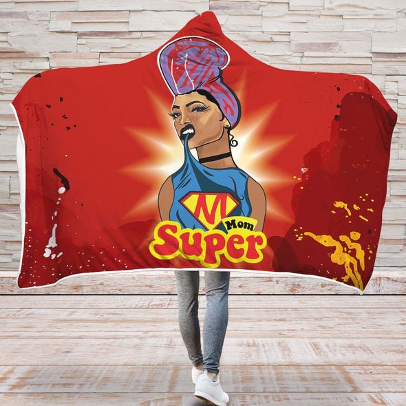 Natural Hair Daily Art Hooded Blanket - Super Mom Headwrap Gift Hooded Blanket