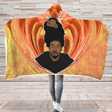 Black Father Art Hooded Blanket - Endless Love Dreadlock Daddy Hooded Blanket