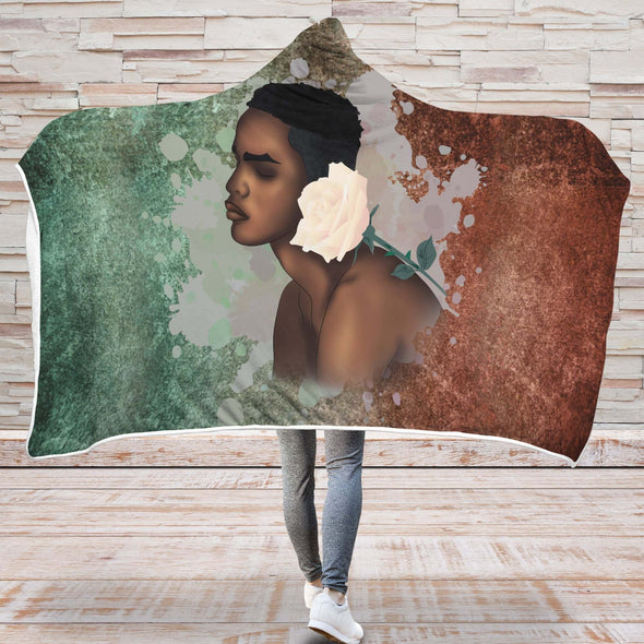 Naptural Artwork Hooded Blanket - Black Men And The White Rose Hooded Blanket