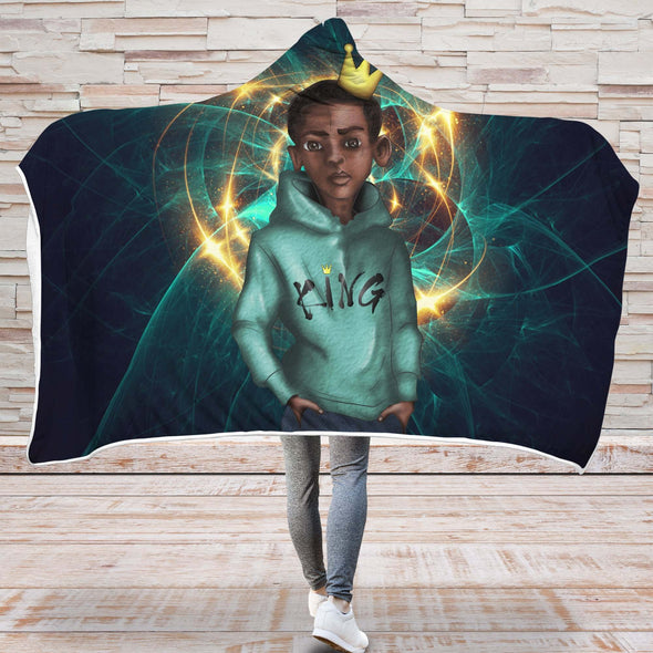 Black Beauty And Pride Art Hooded Blanket - Gold Crown Black Kid King Hooded Blanket