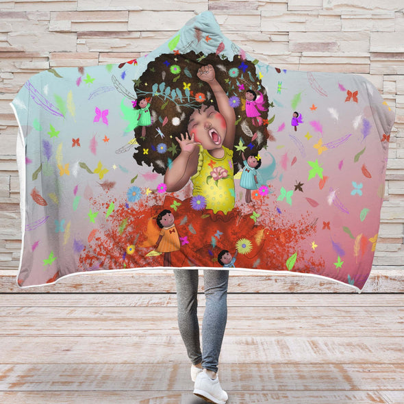 Black Girl Art Hooded Blanket - Black Kid Peaceful World Prospect Future Hooded Blanket