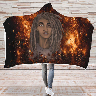 Natural Black Men Hooded Blanket - Black Boy Magic Long Locs Hair Men Hooded Blanket