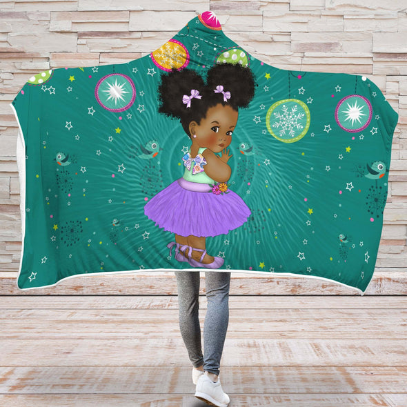African Black Kid Hooded Blanket - Chubby Cheeks Girl Back To School Kid Hooded Blanket