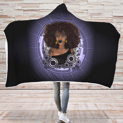 Natural Melaninpopin Hooded Blanket - Sexy Afro Melanin Poppin Black Women Hooded Blanket