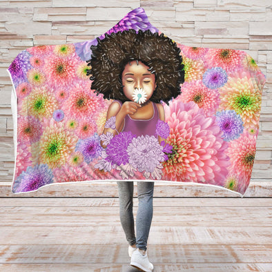 Afro Flower Style Art Hooded Blanket - Afro Girl Daisy Cute Kid Flower Style Hooded Blanket