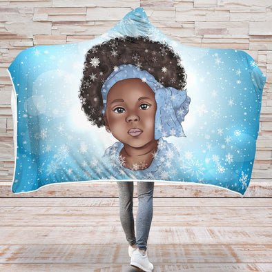 Afro Kid Art Hooded Blanket - Afro Turban Nice Little Girl Winter Snow Flake Hooded Blanket