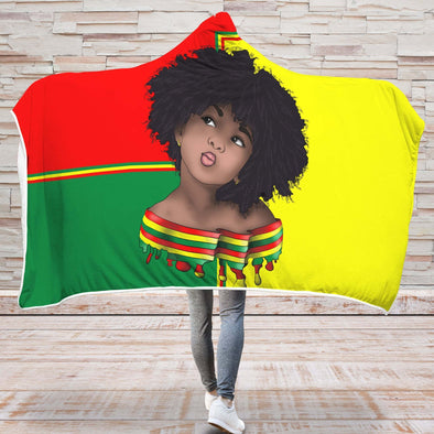 Afro Kid Art Hooded Blanket - Vintage Color Red Yellow Green Hair Afro Girl Hooded Blanket