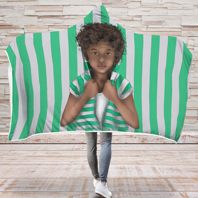 Africa Kid Art Hooded Blanket - African Curly Hair Kid Vintage Green White Hooded Blanket