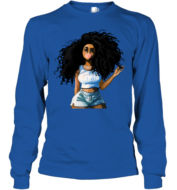 Black Women Art - Afro Curly Bubble Girl Youth Long Sleeve