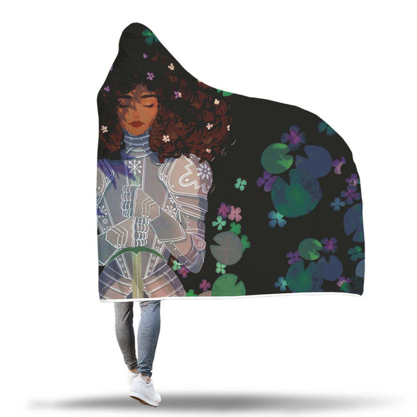 Black Women Art Hooded Blanket - Strong Beauty Afro Lady Knight Hooded Blanket