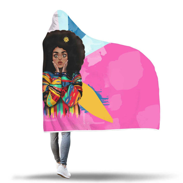 Black Women Art Hooded Blanket - Vintage Coloful Melanin Poppin Cute Girl Hooded Blanket