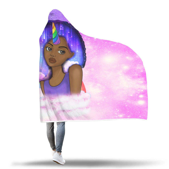 African Artwork Hooded Blanket - Afro Natural Unicorn Black Girl Hooded Blanket