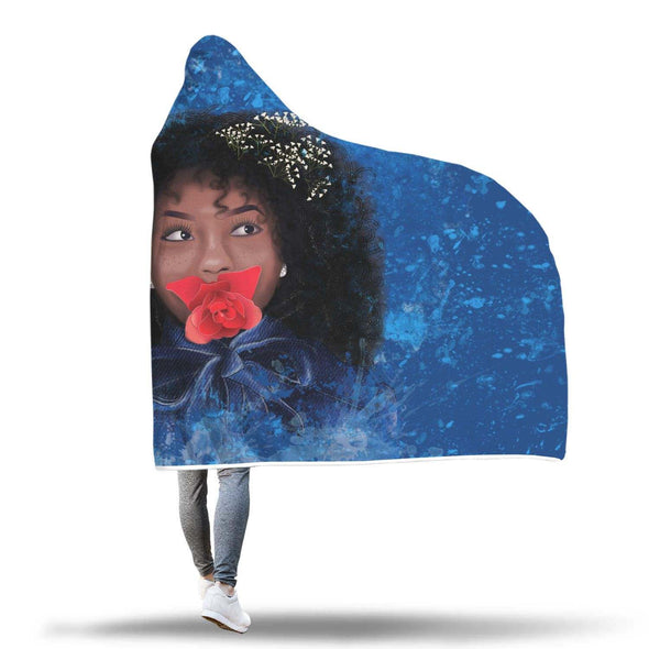 Afro African Blue Art Hooded Blanket - Rosy Atractive Afro Black Girl Hooded Blanket