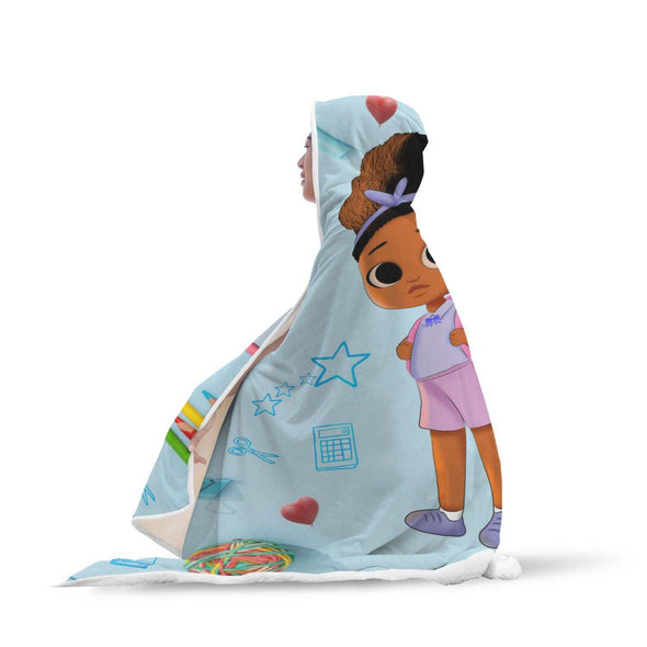 For Black Children Hooded Blanket - Back To School Time Cute Lovely Dress Girl Hooded Blanket