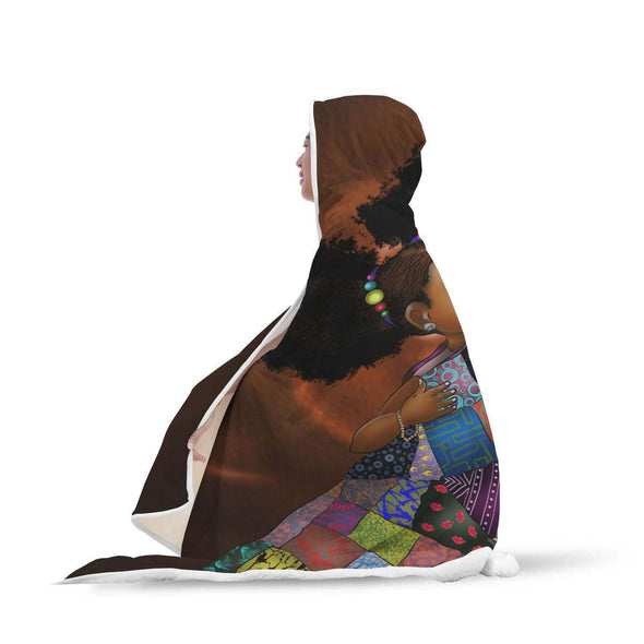 African Black Kid Hooded Blanket - Colorful Melanin Poppin Adorable Kid Hooded Blanket