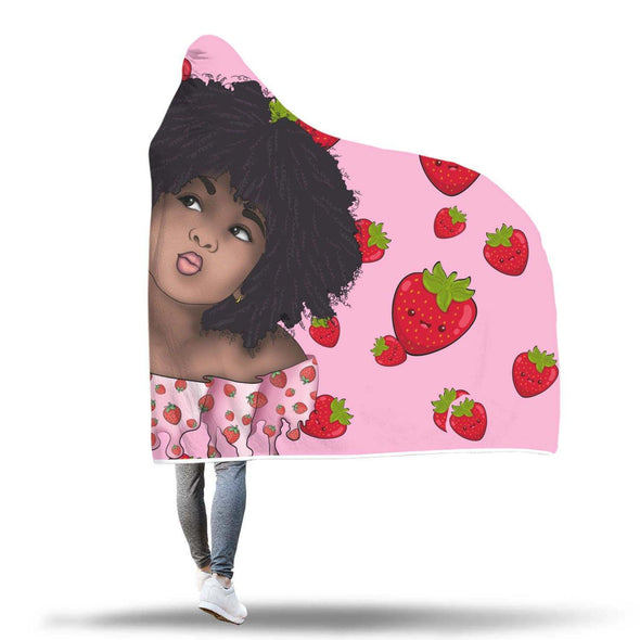 Afro Kid Art Hooded Blanket - Cute Lovely Afro Kid Strawberry Pink Style Hooded Blanket