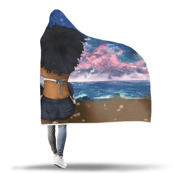 Afro Girl Art Hooded Blanket - Strong Alone Sexy Afro Beach Women Girl Hooded Blanket