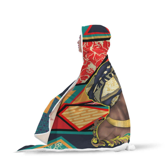 African American Women Art Hooded Blanket Traditional Turban Woman