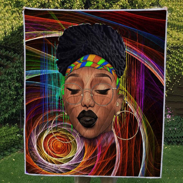 Black Woman Afro Natural Hair Headwraps Dreadlocks Pride Quilt