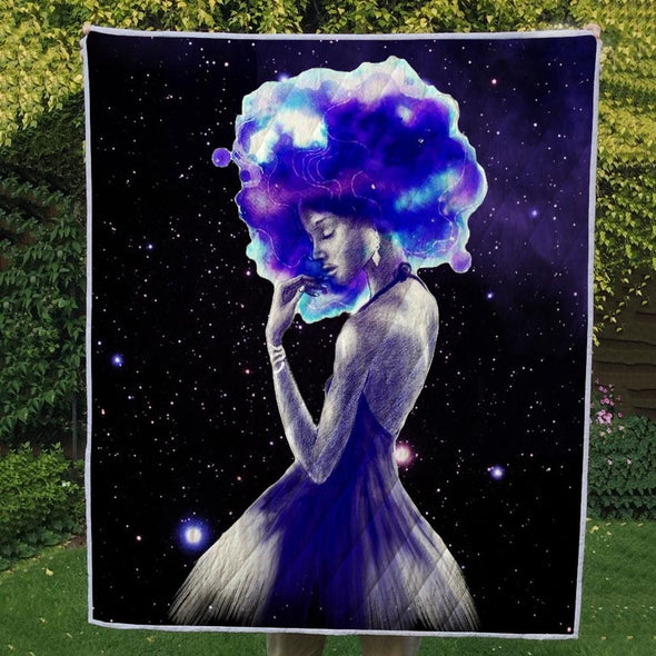 Black Girl Magic Art Quilt - Afro Beauty Magic Girl Quilt