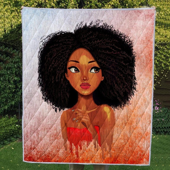 Black Afro Natural Quilt - Kinky Curly Cute Girl Quilt