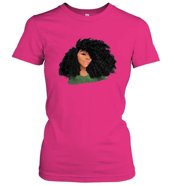 Black Curls Art - Afro Curly Girl Women's T-Shirt