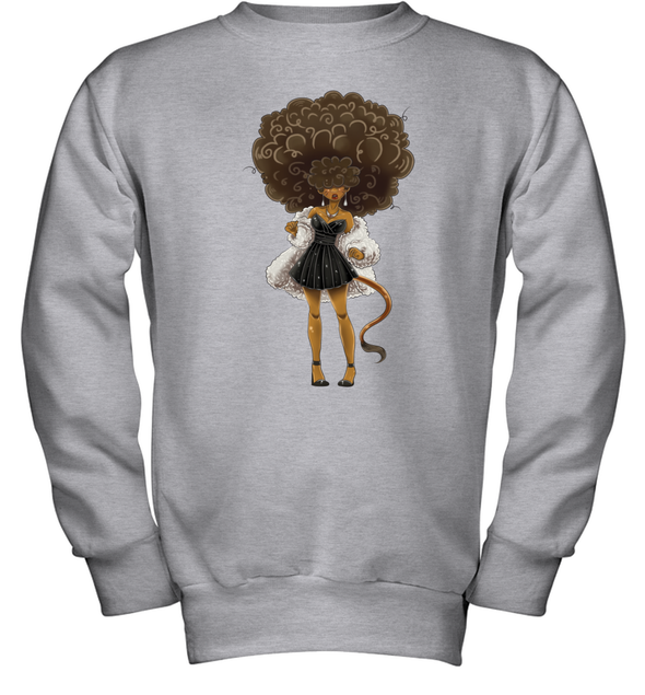 African American Hair Braiding Artwork Cosplay Afro Woman Youth Sweatshirt