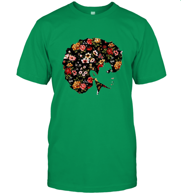 Afro Women Art - Naptural Hair Flower Art Style T-Shirt