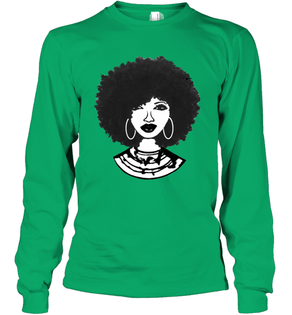 Black Women Art - Afro Natural Hair Black Beauty Youth Long Sleeve