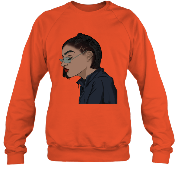 Black Cool Art - Freaking Cool Girl Dreadlock Short Hair Sweatshirt