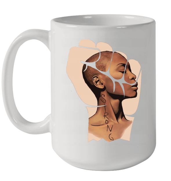 Strong Afro Natural Short Hair Black Women Art Mug