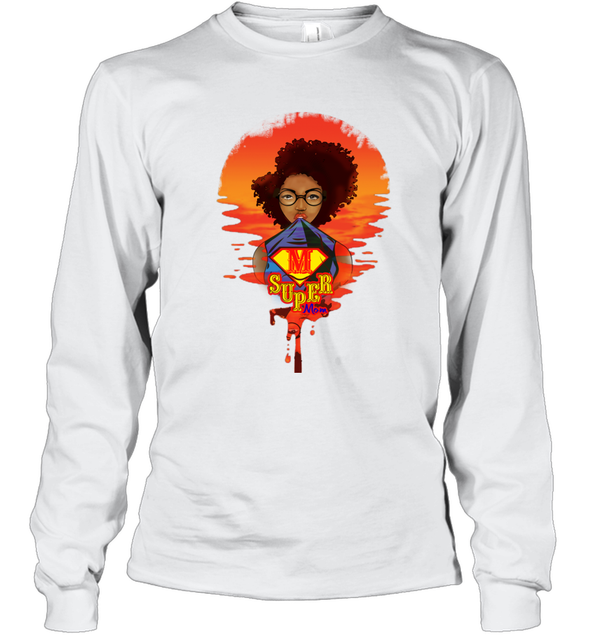 Mother's Day Present - Afro Kinky Curly Super Mom Long Sleeve T-Shirt