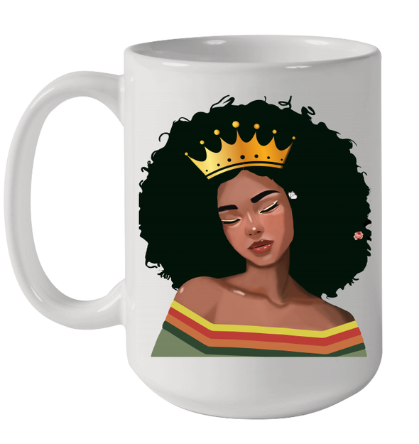 Afro Melanin Poppin Queen Retro Black Girl Magic Mug