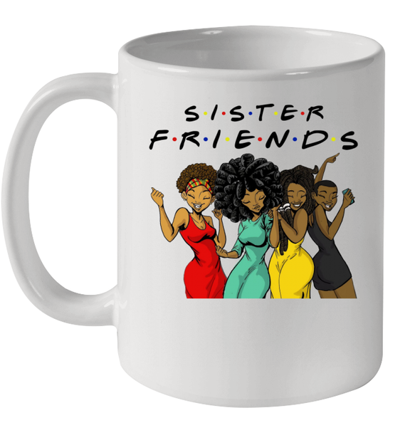 African American Art Funny Beauty Black Women Friends Colorful Dress Mug