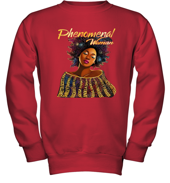 Black Women Art - Black History Phenomenal Woman Youth Sweatshirt