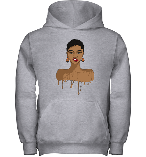 Amazing Natural Hair Art - Black Girl Magic Short Hair Youth Hoodie